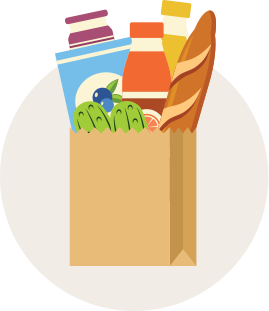 Illustration of a brown bag overflowing with groceries.